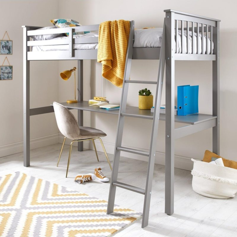Grey-painted high sleeper with desk