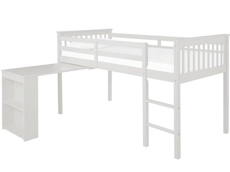 White-painted mid sleeper bed frame