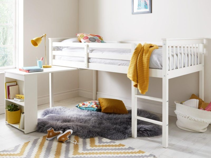 White mid sleeper bed and desk