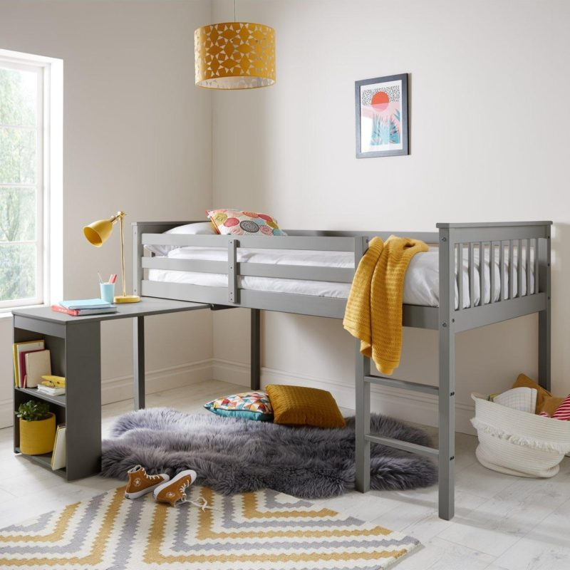 Grey-painted mid-sleeper bed