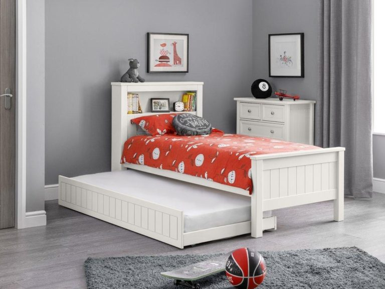 Kid's white single bed with bookcase-style headboard