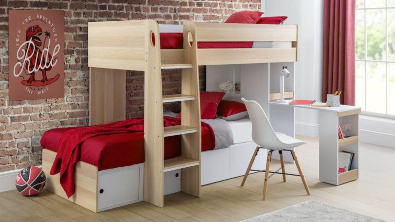 Oak and white bunk bed