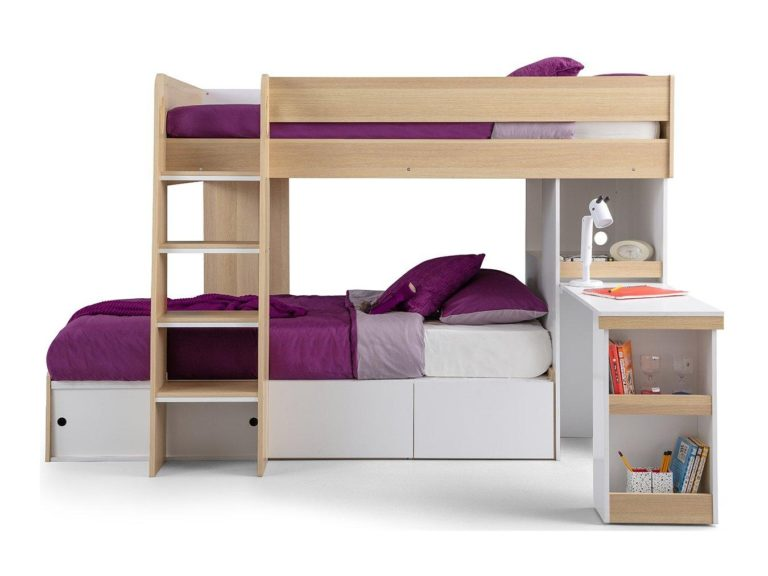 Oak and white bunk bed with desk and storage