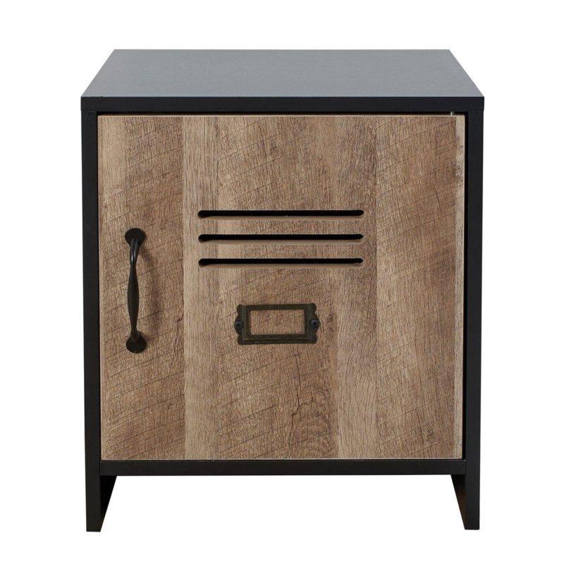 Locker-style bedside unit with woodgrain door
