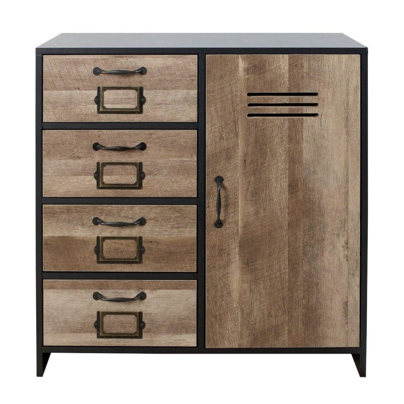 Locker-style cupboard with 4 drawers