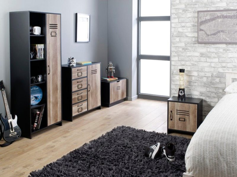 Wooden locker-style bedroom furniture