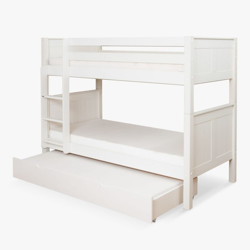 White bunk bed with trundle