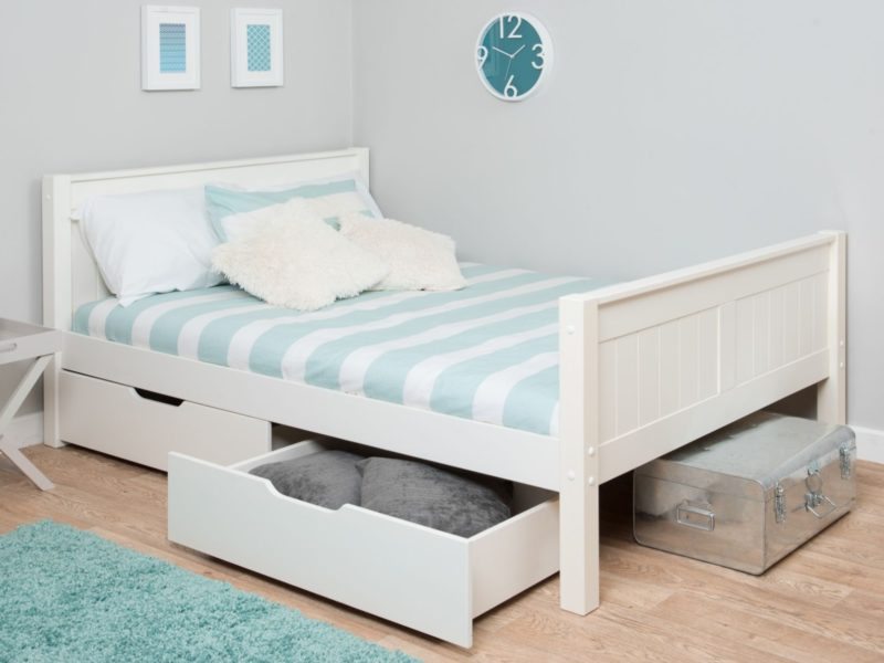 White-painted single bed with storage drawers