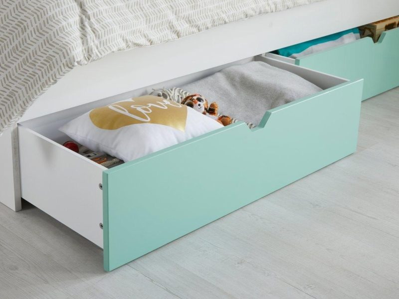 Green storage drawers