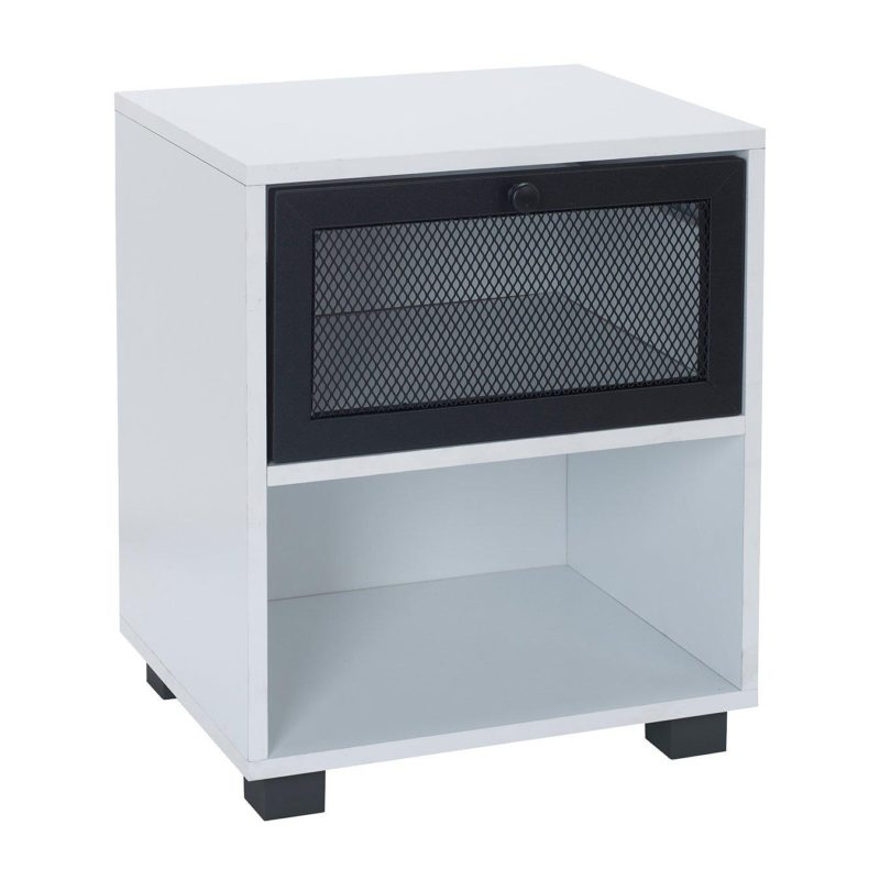 White bedside unit with black mesh door