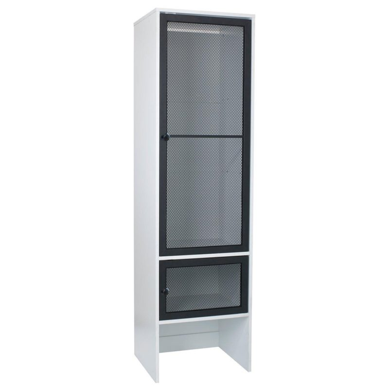 Kid's urban style white wardrobe with black mesh doors
