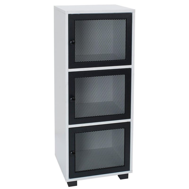 White 3-tier storage unit with black mesh doors