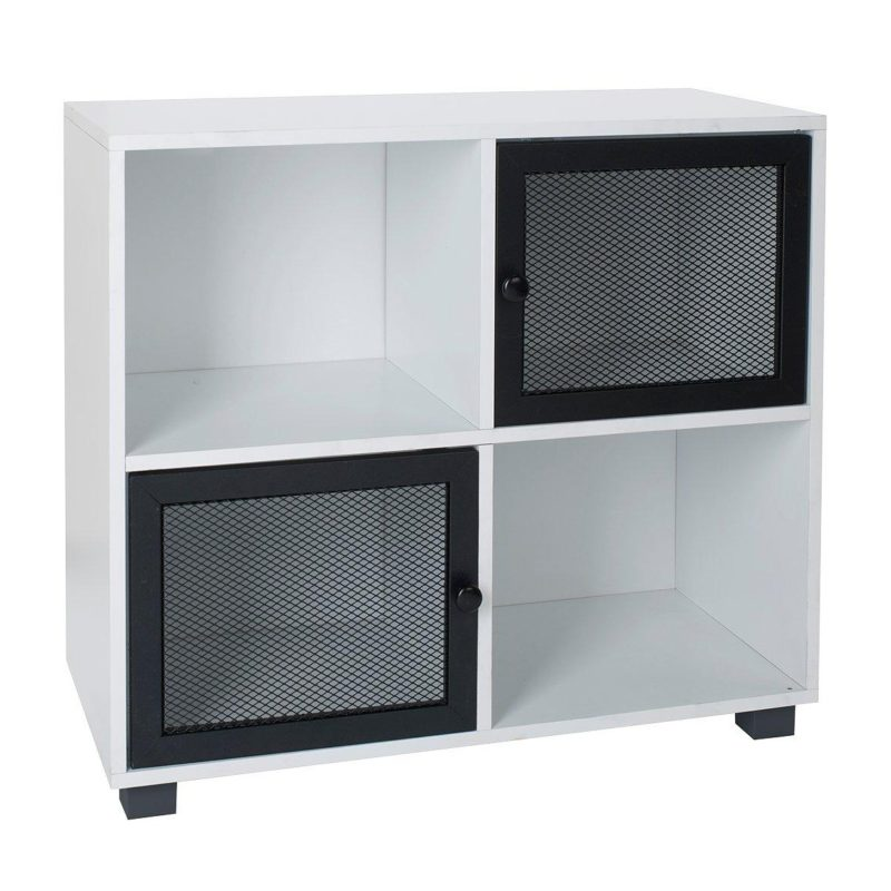 White cube unit with 2 black mesh doors