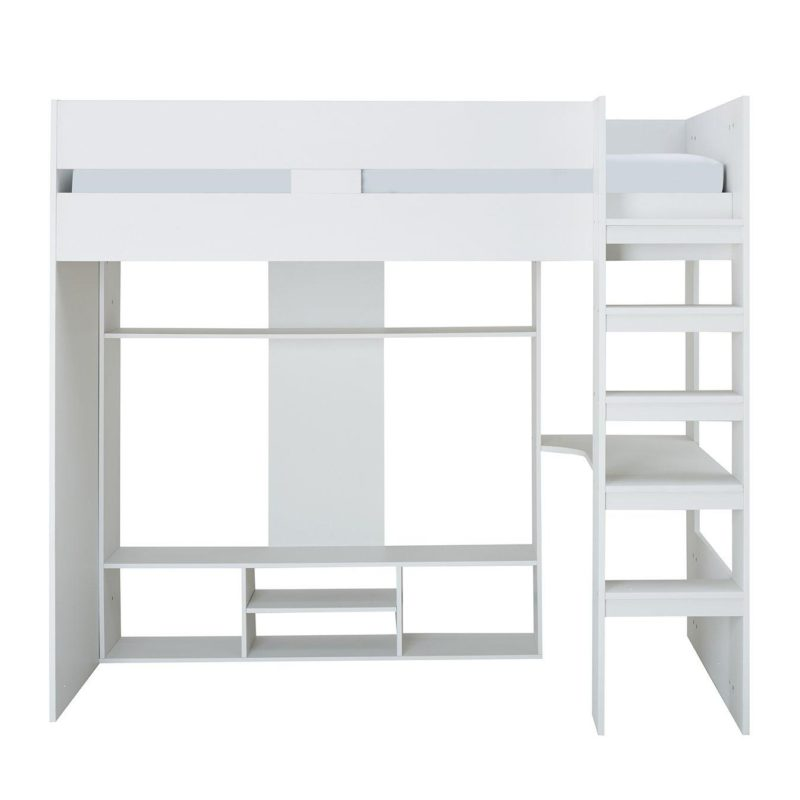 White mid-sleeper bed with fixed ladder