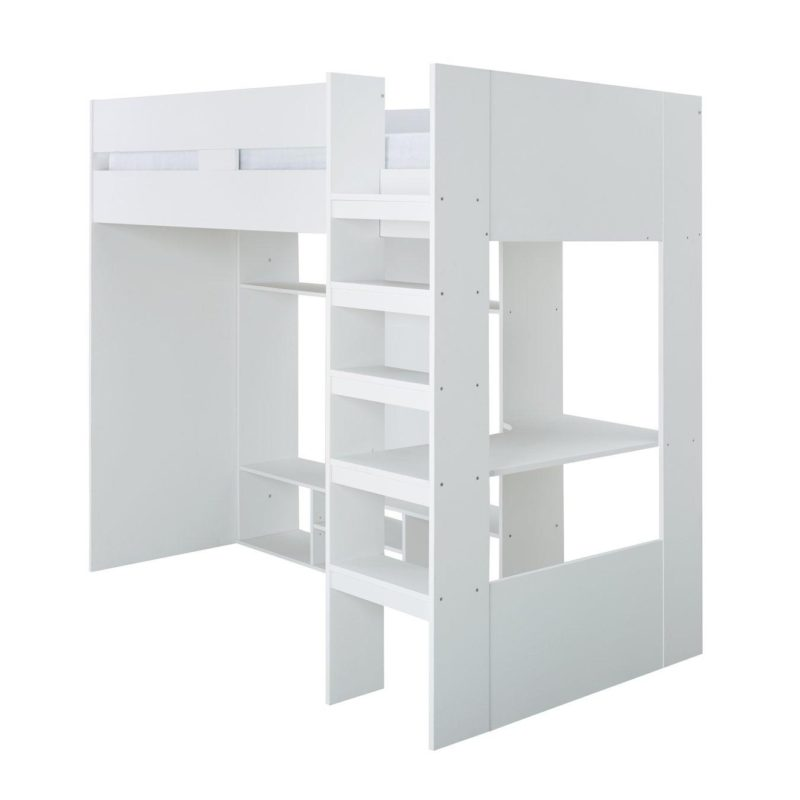 White mid sleeper with shelving