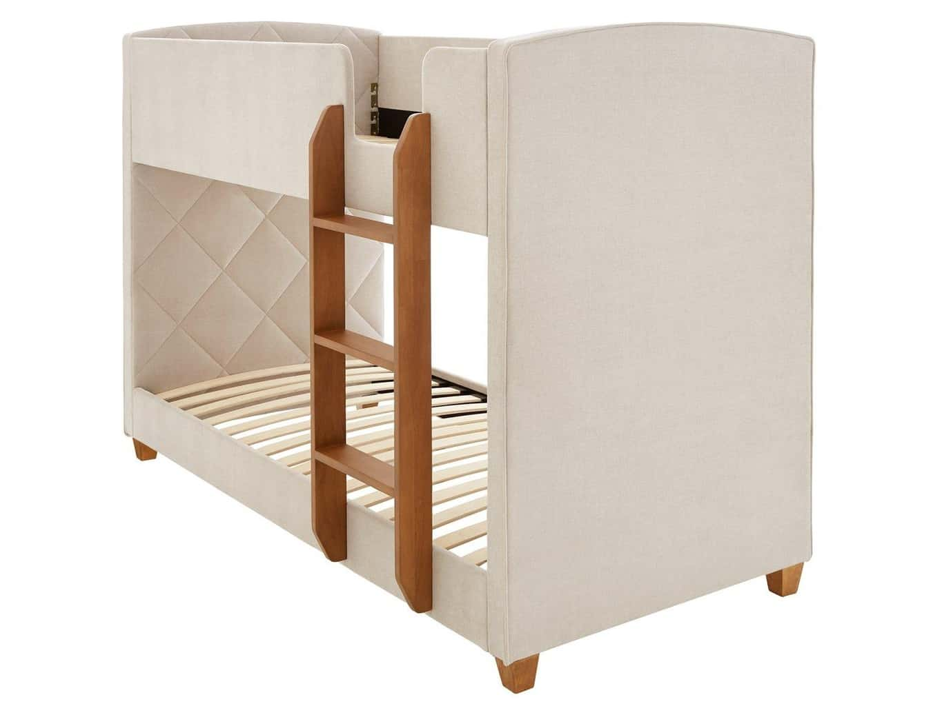 Fabric upholstered bed with fixed wooden ladder