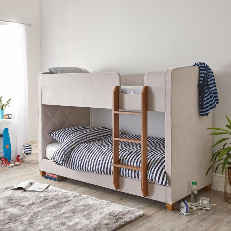 Kid's bunk bed with natural coloured fabric upholstered bed