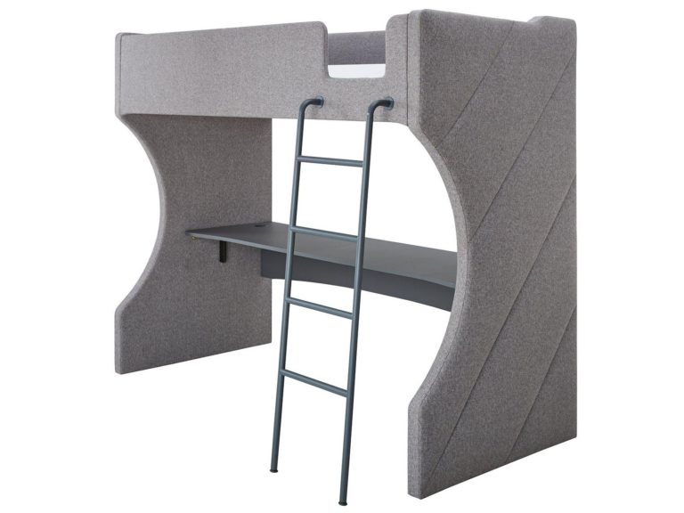 Grey fabric upholstered high sleeper