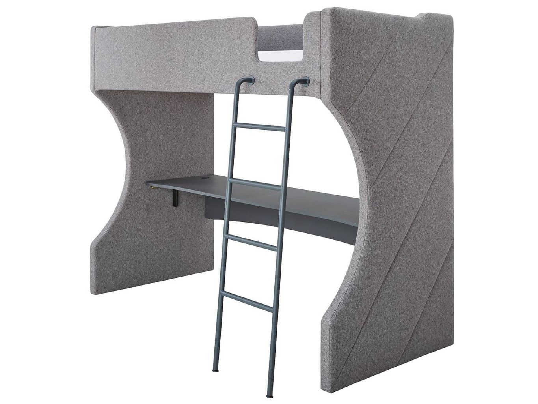 Grey fabric upholstered high sleeper