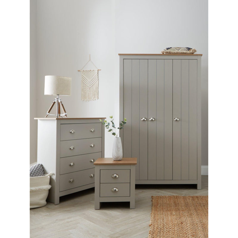 Grey painted wardrobe, drawer chest and bedside unit