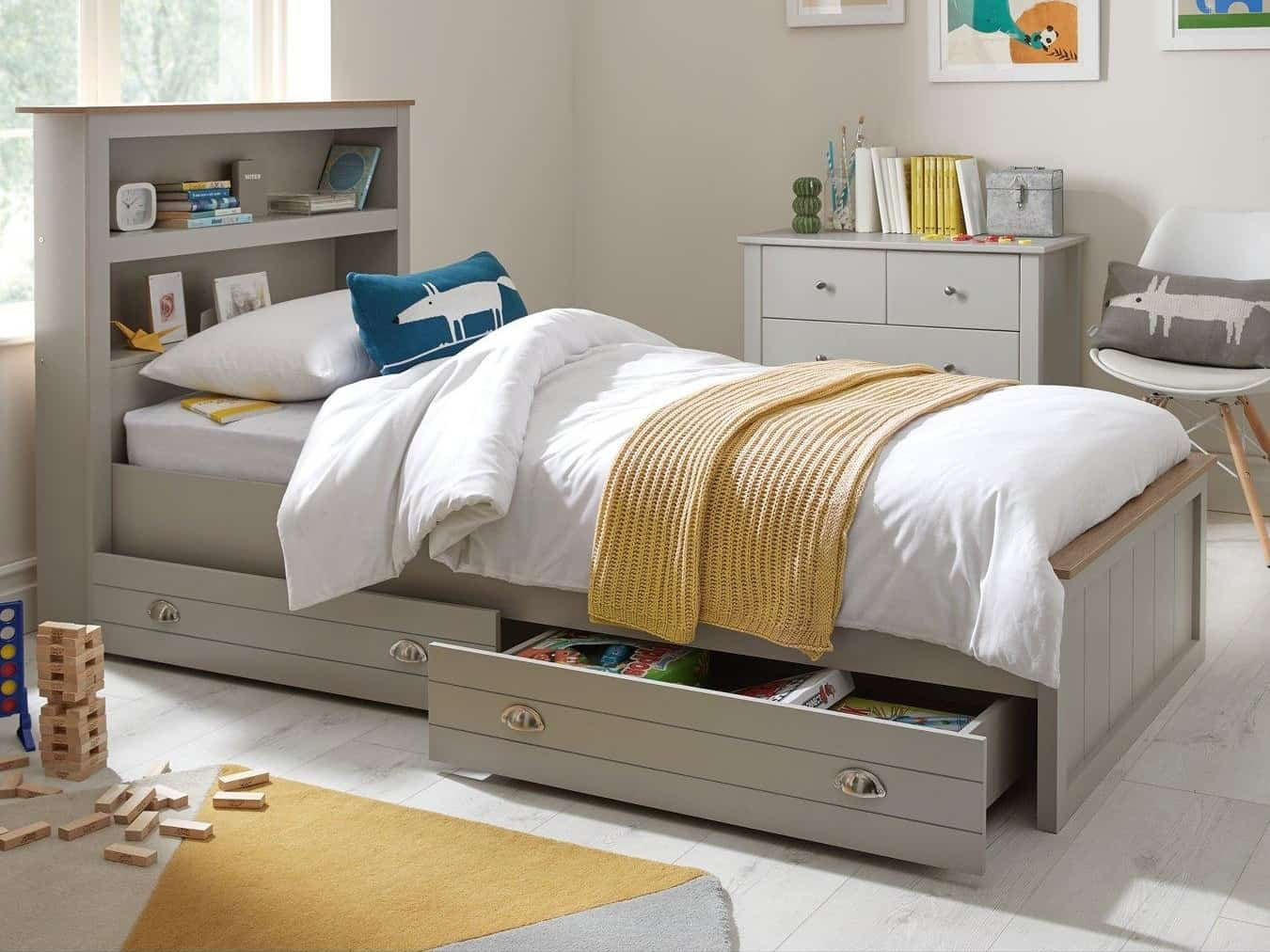 Grey-painted kid's bed