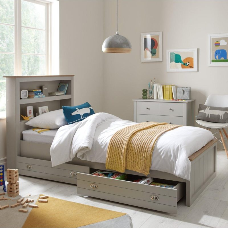 Grey painted single storage bed