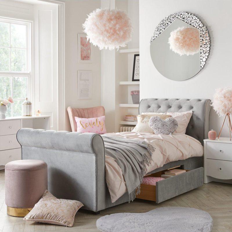 Grey velvet children's bed with storage drawer