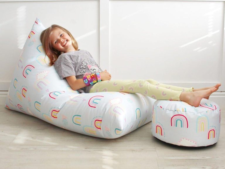 Rainbow theme beanbag and footstool