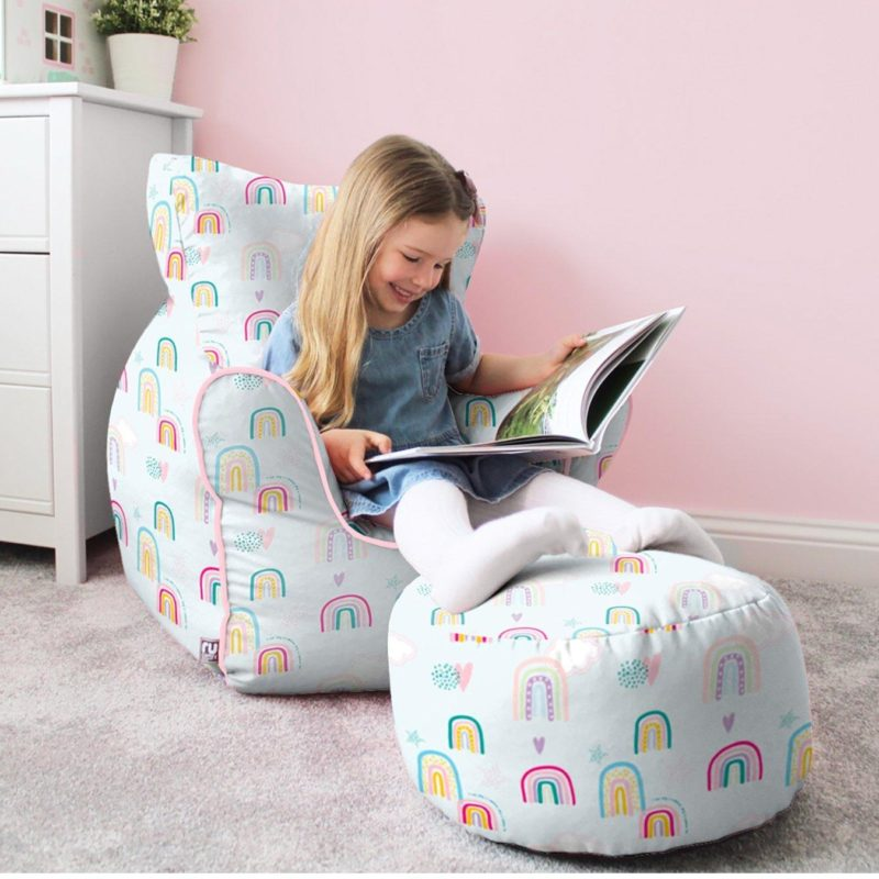 Rainbow pattern bean bag chair