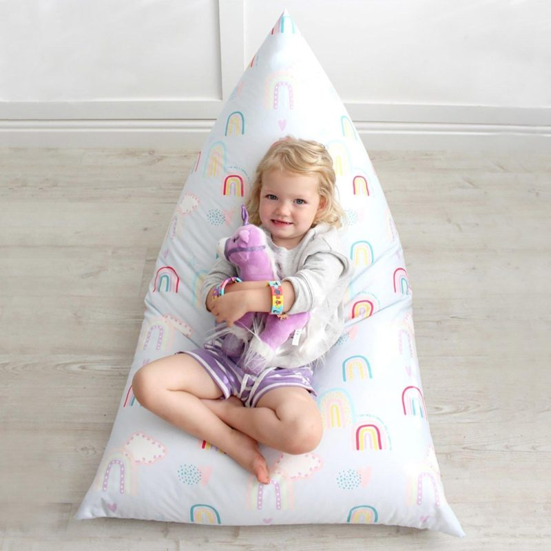Humbug-style bean bag with rainbow print cover
