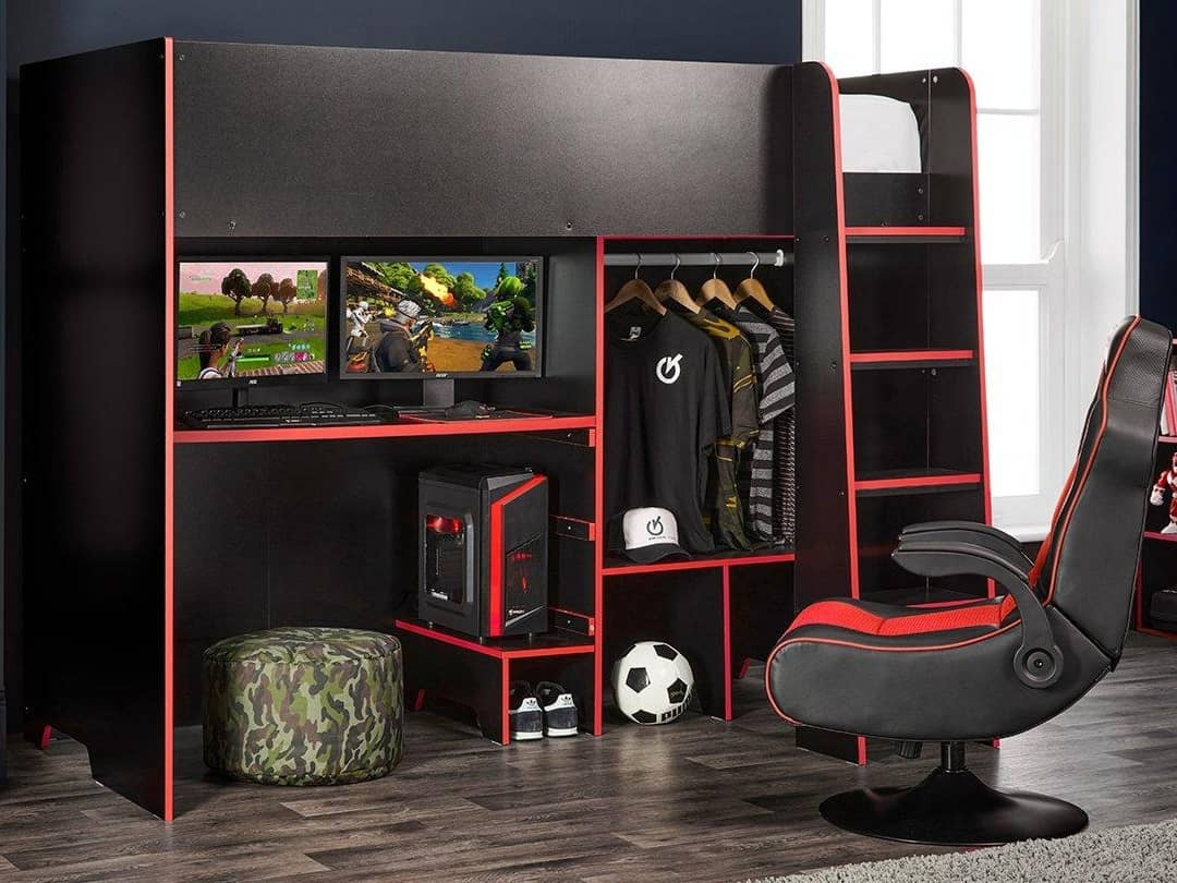 Black and red high sleeper bed