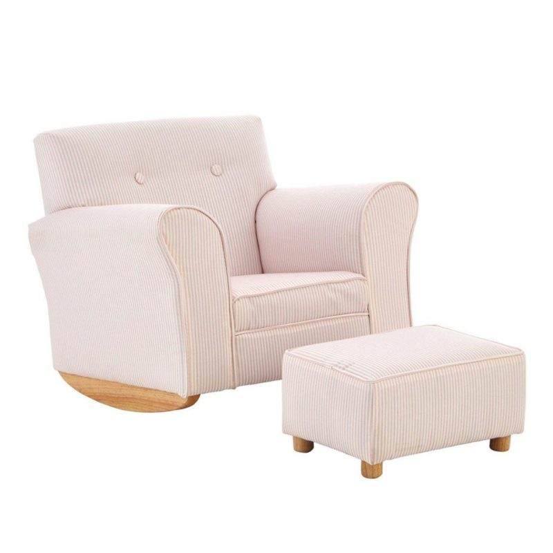 Rocking armchair with footstool - pink/white