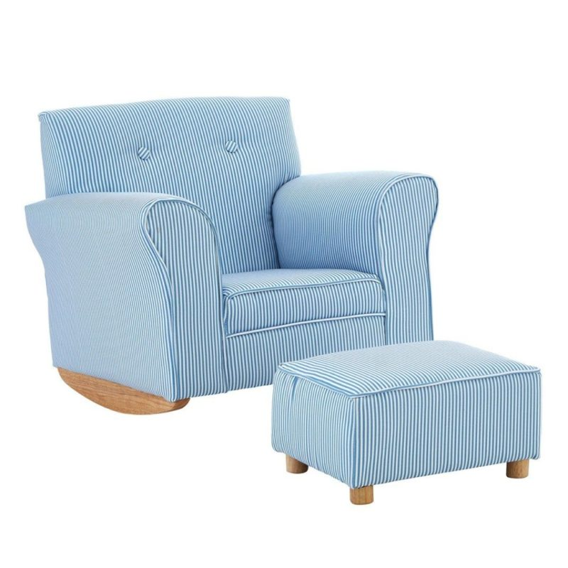 Blue/white rocking armchair and footstool