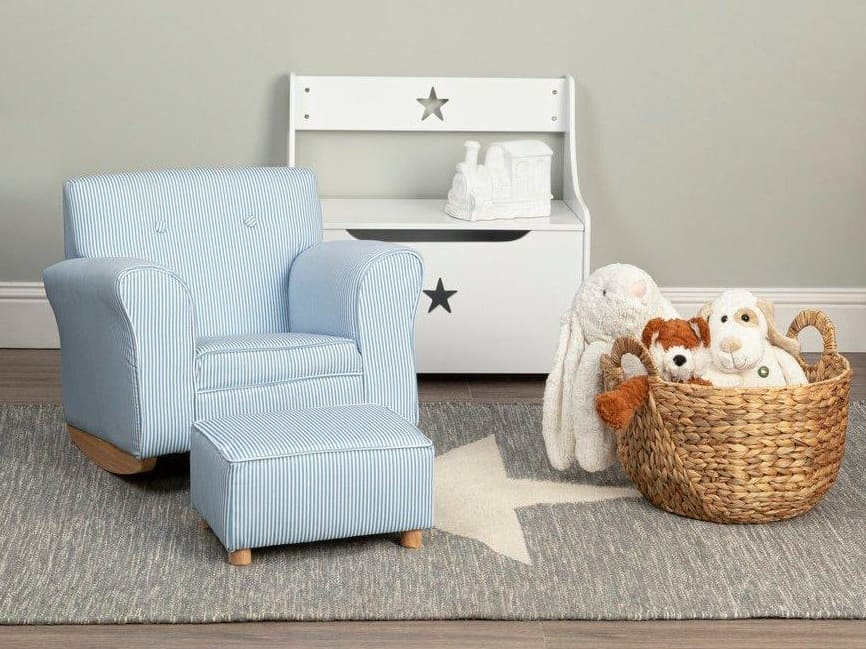 Kid's blue rocking armchair with footstool