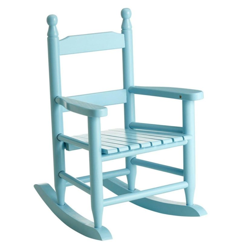 Blue-painted rocking chair
