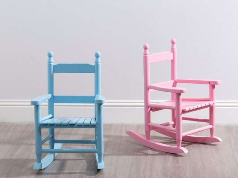Blue and pink wooden rocking chairs