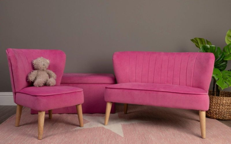 Kid's pink chair and matching sofa