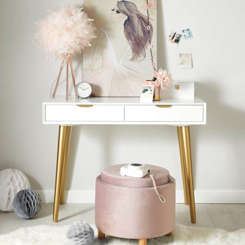 Kid's 2-drawer dressing table with gold painted legs