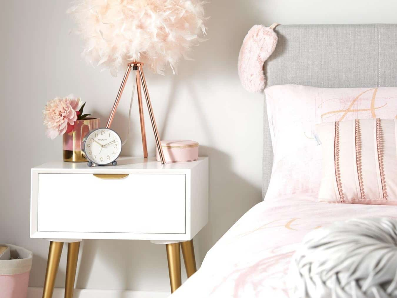 White and gold coloured childrens bedside table