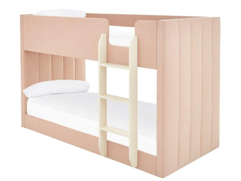 Pink velvet upholstered bed