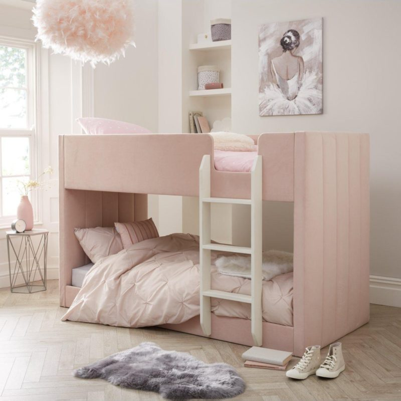 Pink velvet bunk bed