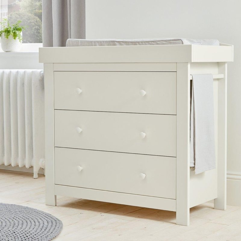 White-painted drawer chest with changer top and hanging rail