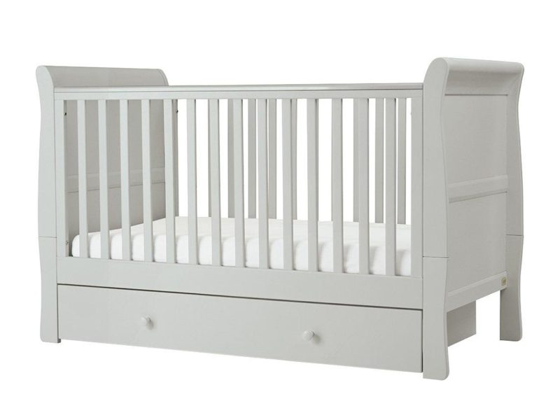 Grey painted cot with storage base