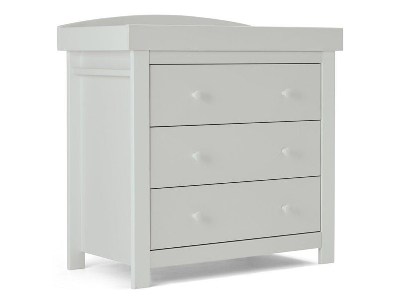 Grey painted 3-drawer chest with changer top