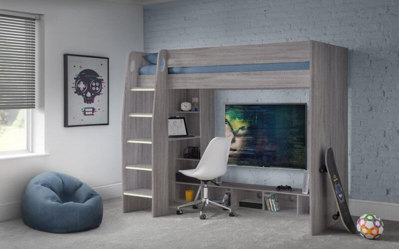 Greyed-oak high-sleeper bed