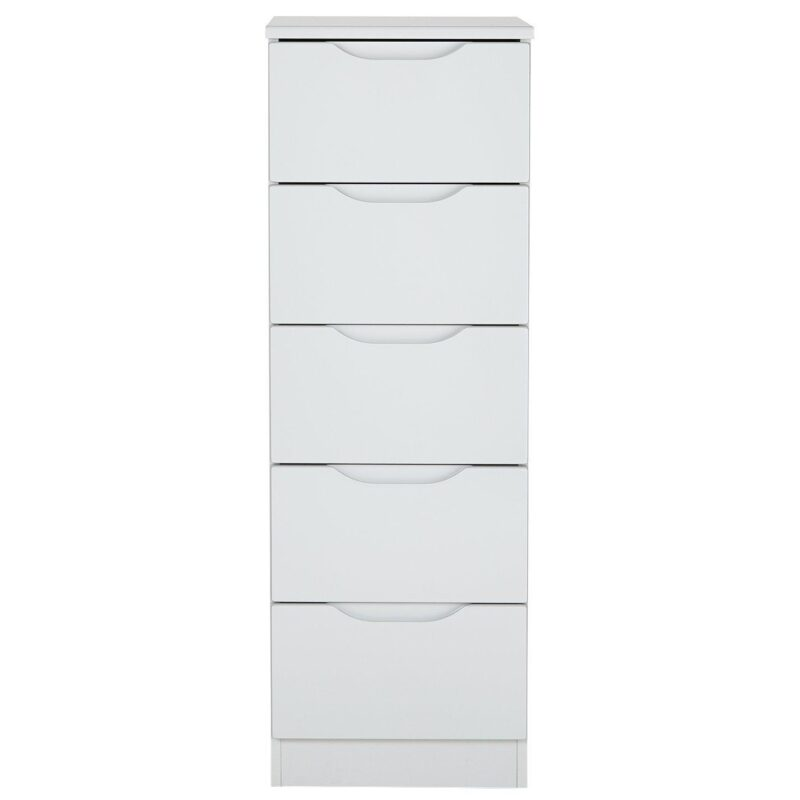 5 drawer grey gloss tallboy chest