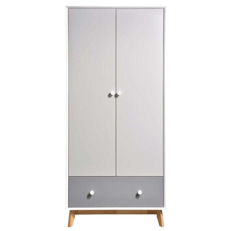 Grey 2-door wardrobe with drawer