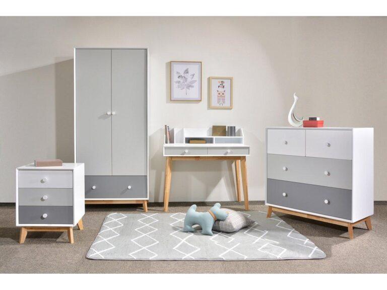 Grey and oak bedroom furniture