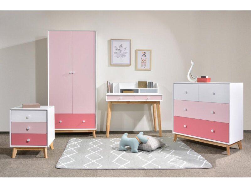 Pink and oak bedroom furniture