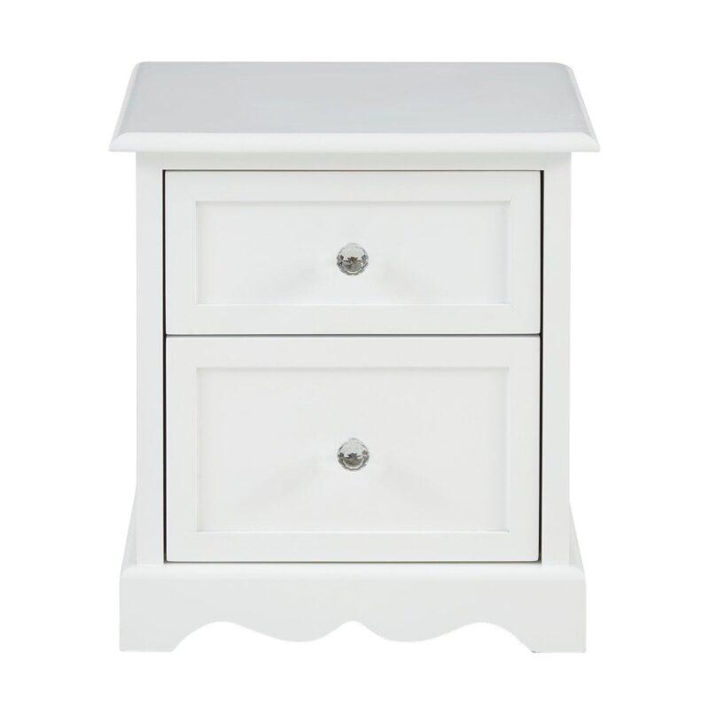 White 2-drawer bedside chest